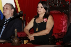 El profesor e investigador de la UCAB, Tomas Straka, fue incorporado al sillon correspondiente a la letra O de la Academia Nacional de la Historia de Venezuela. Fue juramentado por la historiadora Ines Quintero, en la sede del Palacio de las Academias, de la avenida Universidad, frente a la AN. Fotografia: Oswer Diaz Mireles. Fecha: 21072016.