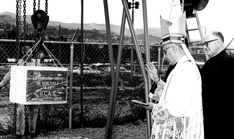 Bendición de la primera piedra del campus de Montalbán de la Universidad Católica Andrés Bello, 1963.