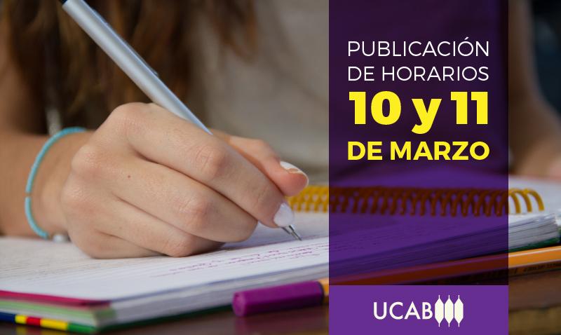 Horarios serán publicados el 10 y 11 de marzo