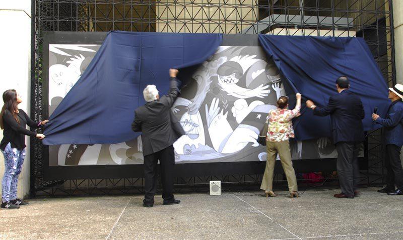La obra «Venezuela,  el horror y la esperanza» de EDO fue develada en el Centro Loyola